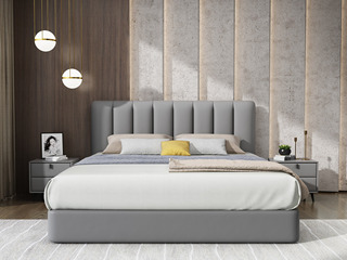 极简风格 真皮+实木框架 1.8米浅灰色真皮床(搭配实木排骨架)
