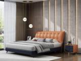 卡罗亚 极简风格 真皮+实木框架 1.8米橙褐色+蓝混色 床 (搭配实木排骨架)