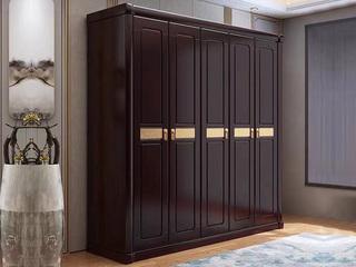新中式风格 紫檀色 家用卧室 橡胶木3门衣柜
