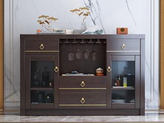 新中式风格 橡胶木材质 紫檀色 复古抽屉储物餐边柜