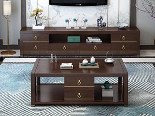 新中式 多层实木客厅多功能地柜 六抽储物电视柜