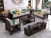 华韵  新中式  客厅 家用  高回弹海绵  棉麻布 松木架 沙发橡木实木脚  双人位