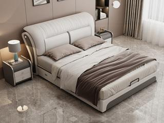 现代简约 皮艺 米白色+浅灰色 1.5*2.0米高箱床(抽屉躺右)