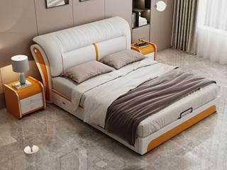 现代简约 皮艺 米白色+金橙色 1.5*2.0米高箱床(抽屉躺右)