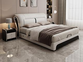 现代简约 皮艺 米白色+黑色 1.5*2.0米高箱床(抽屉躺右)