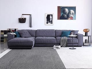 极简风格 时代鹿皮绒布 俄罗斯进口落叶松框架 转角沙发(1+1+右贵妃)