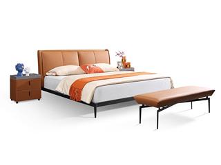 极简风格 真皮 碳素钢脚 实木排骨架 1.5*2.0米床