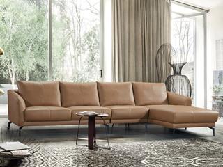 现代简约 头层真皮 焦糖色 转角沙发(1+3+左贵妃)