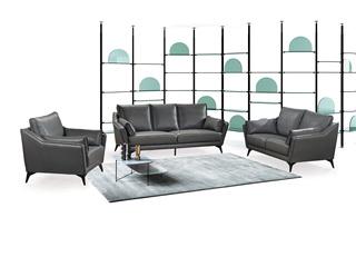 现代简约 头层真皮 深灰色 沙发组合(1+2+3)