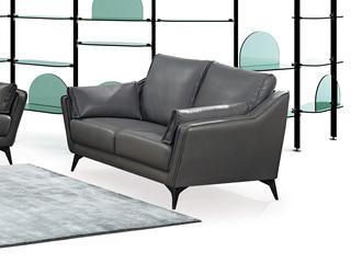 现代简约 头层真皮 深灰色 双人沙发