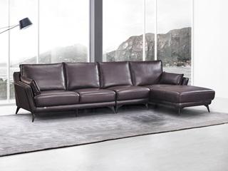 现代简约 皮艺 酱紫色 转角沙发(1+3+左贵妃)