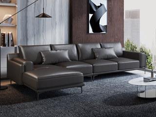 现代简约 头层真皮 黑色 转角沙发(1+3+右贵妃)