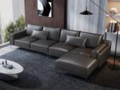 诺美帝斯 现代简约 头层真皮 黑色 转角沙发(1+3+左贵妃)