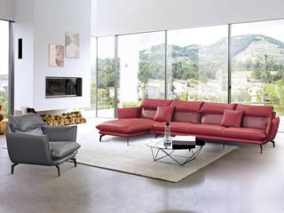 现代简约 皮艺 红色+灰色 转角沙发(1+3+右贵妃+双扶单人位)