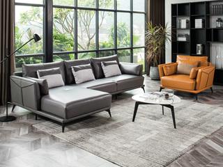 现代简约 头层真皮 高级灰+橙色 转角沙发(3+右贵妃+双扶单人位)