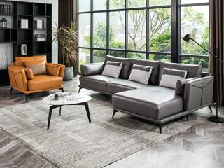 现代简约 头层真皮 高级灰+橙色 转角沙发(3+左贵妃+双扶单人位)