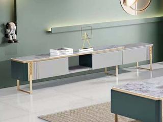 现代简约 亮光岩板台面 E1级板材柜体 金属脚 电视柜长2.24米