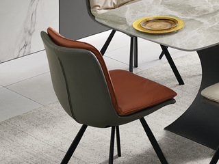 现代简约 橘色+咖啡色 科技皮 餐椅(单把价格 需双数购买 单数不发货)