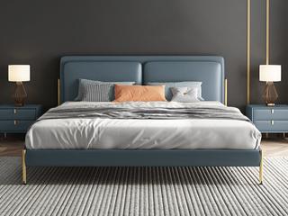 轻奢 全实木内架 白鹅羽绒 石板蓝 舒适柔软1.8米皮艺床(搭配10公分松木排骨架)