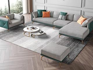 轻奢风格 全实木框架 羽绒公仔包 1+3+左贵妃 仿真皮沙发