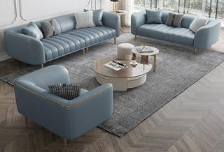轻奢风格 全实木框架 羽绒公仔包 1+2+3仿真皮沙发组合