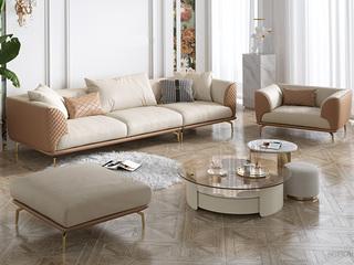 轻奢风格 全实木框架 羽绒公仔包 1+3+脚踏 仿真皮沙发组合