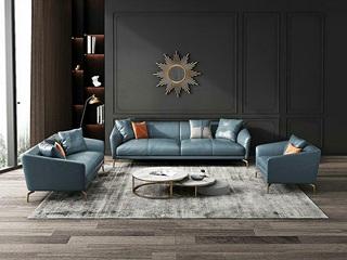 轻奢风格 全实木框架 羽绒公仔包 三人位 仿真皮沙发