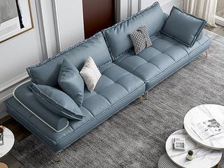 轻奢风格 全实木框架 四人位 真皮沙发