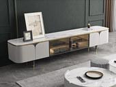 慕梵希 轻奢 岩板台面 不锈钢镀金边+茶色玻璃 电视柜
