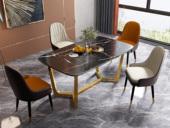 卡罗亚 气质轻奢 大理石 劳伦黑金台面 1.4米餐桌