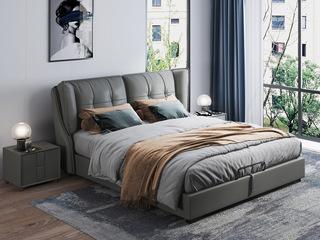 现代简约 充盈软靠 白腊木+实木框架 1.8米 深灰色皮艺床