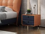 卡罗亚 极简风格 全实木柜 黑磨砂铁五金脚 橙褐+深蓝色床头柜