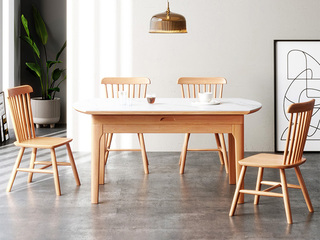 北欧风格 榉木坚固框架 原木色 餐椅