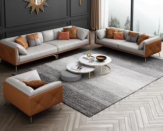 轻奢风格 全实木框架 羽绒公仔包 三人位 橙色+浅灰色 仿真皮沙发