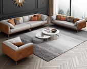 慕梵希 轻奢风格 全实木框架 羽绒公仔包 1+2+3 橙色+浅灰色 布艺沙发组合