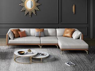 轻奢风格 全实木框架 羽绒公仔包 1+3+左贵妃 橙色+浅灰色 真皮沙发