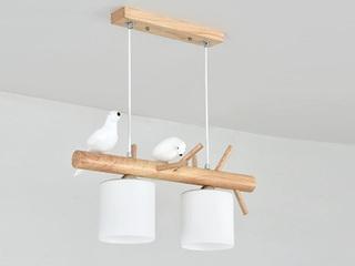 【包邮 偏远地区除外】 现代简约 LED光源节能灯 原木奶白玻璃灯罩吊灯2头 卧室餐厅书房灯具(含光源)