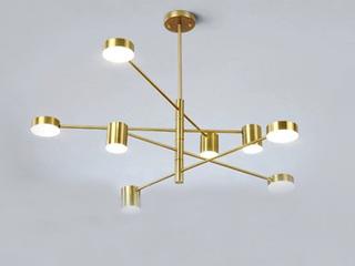【包邮 偏远地区除外】 北欧简约 亚克力灯罩 金色吊灯8头餐厅客厅卧室灯具(含光源)