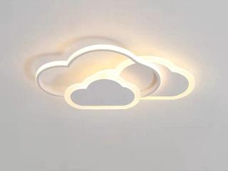 【包邮 偏远地区除外】 现代 铁艺+亚克力 白色-云朵 三色光 吸顶灯(含光源 LED42W)