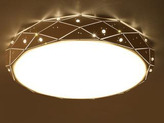 【包邮 偏远地区除外】 现代简约 铁艺+亚克力 圆奥运 黑色650 三色光 吸顶灯(含光源 LED48W)