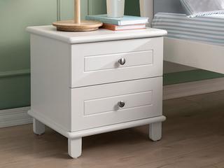 现代简约 实木 白色 儿童床头柜