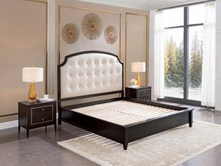 顿图系列 简美风格  黑色 舒适真皮软靠 1.5米 实木床(含实木床排骨架)