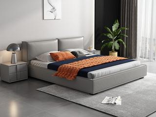 时尚简约 松木框架 浅灰色 真皮 1.8米高箱双人床(搭配松木排骨架)
