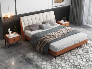 时尚简约 实木框架 橙色+米白色 皮艺 1.8米双人床(搭配实木排骨架)