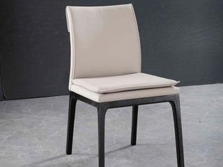 意式极简 进口红橡木 米白色皮艺餐椅(单把价格 需双数购买 单数不发货)