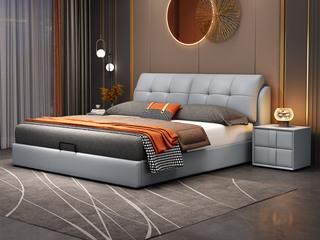 现代简约 实木框架 柔软舒适海绵 多功能储物浅蓝色皮艺1.8米高箱床(搭配排骨架)