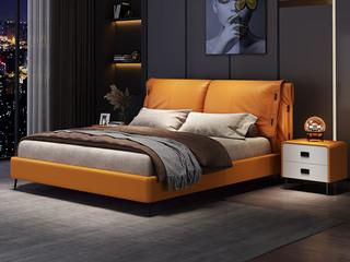现代简约 实木框架 柔软舒适海绵 金橙色皮艺长1.9米床(搭配排骨架)