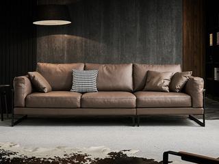 现代简约  羽绒 深咖色 皮艺  双扶手4人位沙发