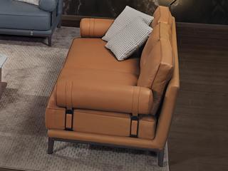 中式简约 真皮 实木 白蜡木 高弹舒适 4人位沙发