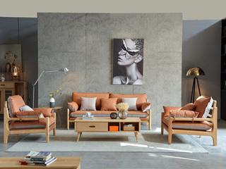 北欧风格 榉木坚固框架 科技布面料 原木色 1+1+3沙发组合